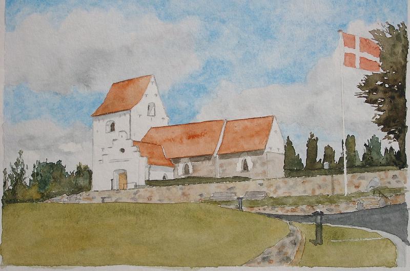 Akvarel-Hasle-Kirke