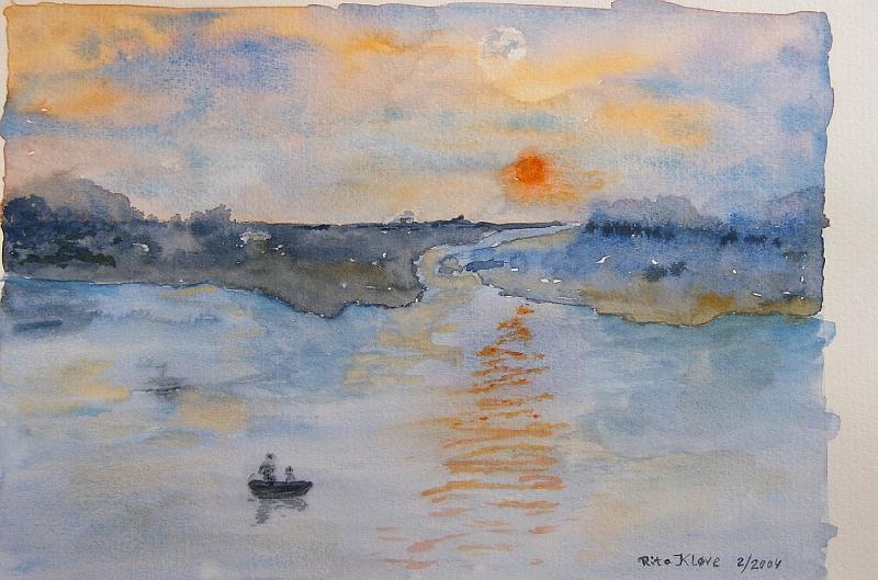 Solnedgang-over-by-og-vand